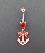 Belly ring 14g red cubic zirconia anchor polka dot bow navel curved bars New