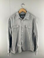 Stray Mens Grey Cotton Long Sleeve Button Up Collared Shirt Size Large
