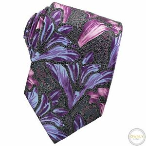 NWOT CURRENT Zegna Purple Blue Black 100% Silk Floral Glossy Tipped Tie