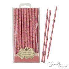 PINK FLORAL PAPER STRAWS-Vintage Tea Party-FULL TRULY SCRUMPTIOUS RANGE IN SHOP!