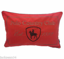 QUALITY POLO COUNTRY CLUB 100% COTTON RED EMBROIDERED CUSHION COVER 40 X 60CM