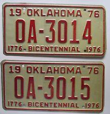 Oklahoma 1976 CONSECUTIVE NUMBER BICENTENNIAL License Plates # OA-3014 & OA-3015