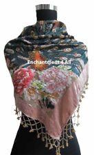 Stunning Handmade Beaded Triangular 100% Silk Velvet PEACOCK Scarf Wrap, Ivory