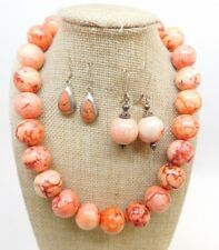 & 2 Pairs Of Earrings Amazing Color! 925 Natural Peach & Orange Jasper Necklace