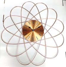 New 50cm Shiny Rose Gold Copper Dial Geometric Metal Spikes Design Wall Clock