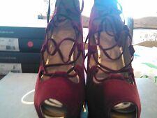 Victoria Secret Colin Stuart Lace Up Velvet Platform Heels Shoes Sexy Sz 7B