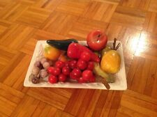 11 Onyx made fruits and vegetables with porcelain display plate