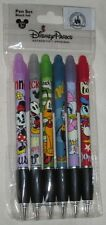 Disney Parks Mickey & Friends Cuties Mini 6 Pack Pen Set Black Ink Rubber - NEW
