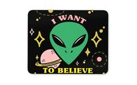 UFO Space Alien Geek Mouse Mat Pad - Nerd Green Visitor Computer Gift #14769