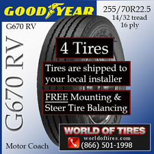 Motor Home Tires 255 70R22.5 Goodyear G670 INCLUDES SHIPPING & INSTALLATION