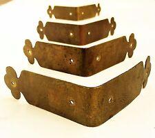 SET 4...brass corner guard Antique trunk treasure chest salvage furniture piece