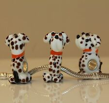 Hund Dog Jagdhund Punkte European Bead Sterling Silber versilbert Murano Glas