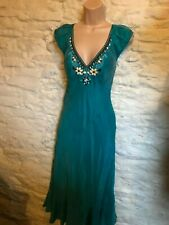 Karen Millen teal silk beaded  dress  size 12