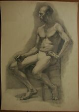 Russian Ukrainian Soviet pencil Painting portrait man nude realism drawings