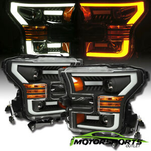 [Anti-Fog] 2015 2016 2017 Ford F-150 Black LED Bar Projector Headlights Pair
