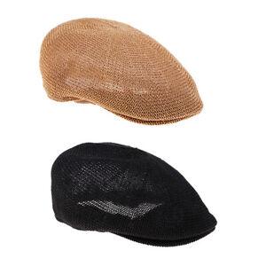 Mens Breathable Summer Straw Sun Hat Newsboy Beret Ivy Cap Cabbie Flat Cap