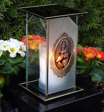 Grablicht HEILIGE MARIA m.Grabkerze Grablampe ♥ Grabschmuck Mutter Jesu Kirche