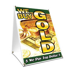 A-frame Sidewalk Sign We Buy Gold 1 Vertical Double Sided Graphics