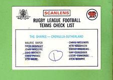 1975 RUGBY LEAGUE CHECKLIST CARD - CRONULLA SHARKS, MARKED
