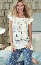 GORGEOUS LADIES AVON WOLF HUSKY DOG COTTON PYJAMAS  SIZES 6 TO 24