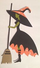 """5"""" Halloween Witch Cricut Die Cut Handmade Paper Piecing made with card stock"""