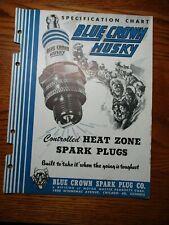 1942 BLUE CROWN HUSKY SPARK PLUG + Catalog +