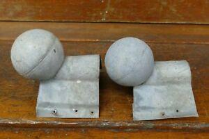"Set Of 2 Vintage Galvanized Roof Ridge Ball End Cap Finial 3"" Inch Diameter"