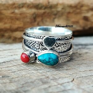 Turquoise Spinner Ring 925 Sterling Silver Plated Handmade Ring Size 9 ss151