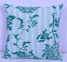 Indian White Pillow Cover Kantha Stitch Floral Print Home Decor Cushion Case 16""