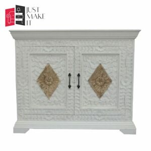 MADE TO ORDER Hand Carved Indian Handmade Solid Wood White-Gold Sideboard Floral