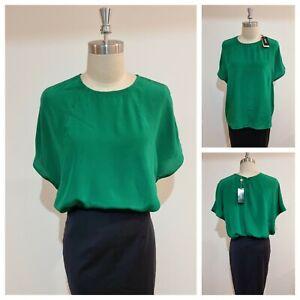 BNWT OXFORD SATIN BLOUSE [12 M, 14 L] Women's Green Zip Top | RRP$149 | NEW