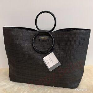 Kate Spade New York Tote Bag Beach/Shopping/Shoulder Large Black Woven Putse NEW