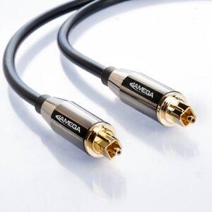 1m Toslink Premium HQ von JAMEGA | Optisches Audiokabel LWL SPDIF Digital