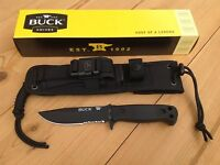BUCK KNIVES 0822BKX-B SENTRY FIXED BLADE KNIFE WITH MOLLE SHEATH NEW IN BOX USA