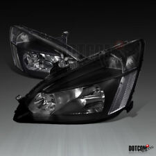 For 2003-2007 Honda Accord LX EX JDM Black Headlights Lamps Pair Replacement