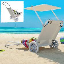 Alu Strandliege Sonnenliege mit Dach Räder Gartenliege Camping Liegestuhl Rollen