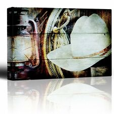 Lantern Cowboy Hat and Rope hanging on barn wall - Canvas Art Home Decor - 32x48