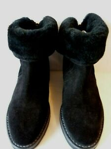 Jimmy Choo ANKLE BOOTS QUARLEY BLACK SUEDE SHEARLING LINED Size 36.5 UK 3.5 VGC