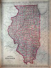 JOHNSON'S ILLINOIS  incisione originale  1866 cartina  STATI UNITI  MAP