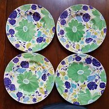 "Block Mint Trellis Dinner Plate 4 Kim Parker Purple Green Flowers Floral 11"""