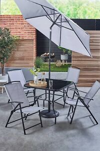 6 Piece Grey Patio Set Garden Furniture Set Outdoor Dining Table & Chairs