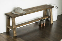 Rustic Solid Wood Bench Farmhouse Traditional Entry Hall Foyer Seat Dark Brown