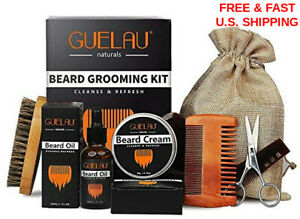 BEARD & Mustache BAMBOO Comb & Natural BOAR Bristle Brush Scissors 6PC GIFT SET