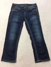 Silver 27 Aiko Denim Capri Blue Jeans Medium Dark Wash Fade