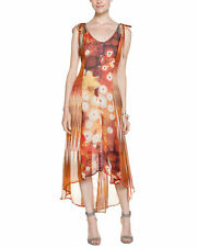 Da-Nang Sz L Maxi Dress Silk Chiffon 'Chili' Patchwork Hi Lo Button Front | EUC