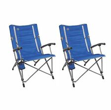 2) Coleman Outdoor Camping Folding ComfortSmart InterLock Suspension Chairs Blue