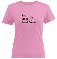 Reading Juniors Girls Women Tee T-Shirt Print Gift Shirts Book lovers Eat Sleep