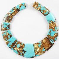 Blue Gold Copper Bornite stone Trapezoid Pendant Graduated Beads Set JC062