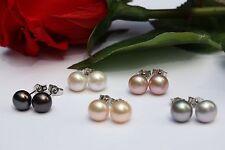5 Paar 7 mm perle d'ACQUA DOLCE SET Gioielli Orecchini a farfalla