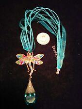 vintage look czecho czech dragonfly crystal glass pendant necklace FREE ship